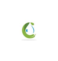 eco green leaf droplet oil logo vector image