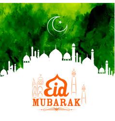 Eid mubarak happy eid greetings with mosque vector