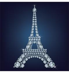 Eiffel tower - Paris made up a lot of diamonds vector image