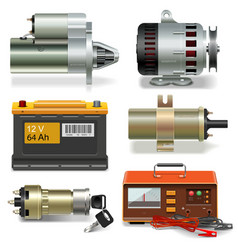 Electric Car Parts Icons vector image