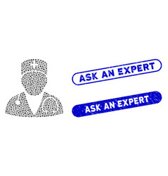 Ellipse collage doctor with textured ask an expert vector