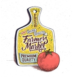 Farmers market hand lettering Vintage poster vector