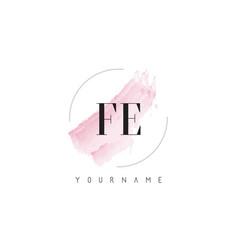 Fe f e watercolor letter logo design with vector