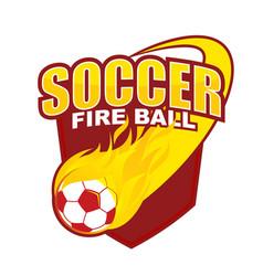 fire ball soccer badge design vector image
