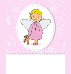 First communion girl card vector