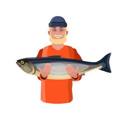 fisherman showing fish vector image