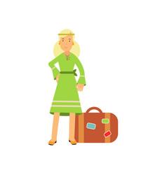 Flat cartoon blonde woman hippie character vector