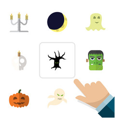 flat icon halloween set of cranium candlestick vector image