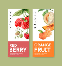 Fruits-themed flyer design with berries vector