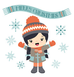girl with a merry christmas banner vector image