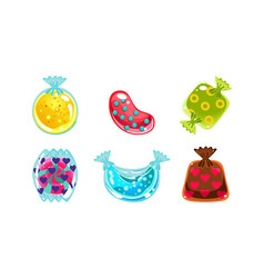 glossy candies of different shapes user interface vector image