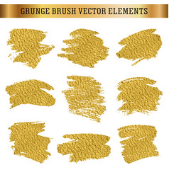 Gold hand drawn grunge brush texture elements vector
