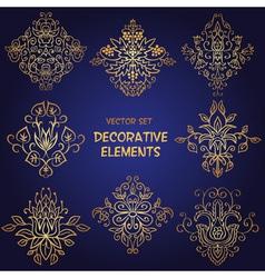 Golden decorative floral elements vector