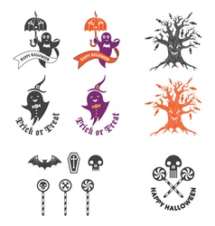 halloween with halloween logo elements vector image