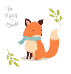 Hand drawn christmas fox in holiday scarf vector