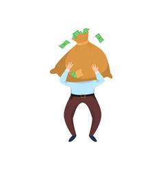 happy businessman carrying bag of money in front vector image