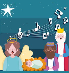 Happy epiphany three wise kings bajesus and vector