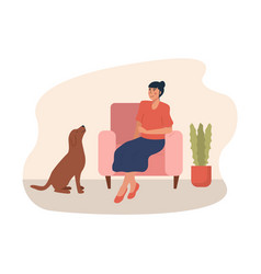 happy pet owner sitting on armchair and her dog vector image