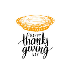 happy thanksgiving day hand lettering on white vector image