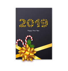 holiday new year 2019 gift card with bow vector image