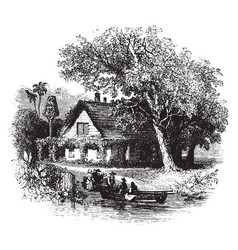 House by river vintage vector