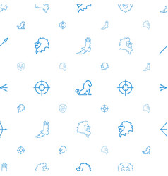 Hunting icons pattern seamless white background vector