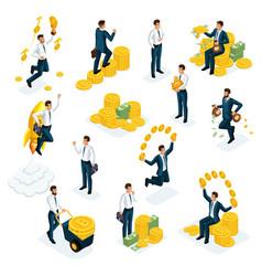 isometrics businessmen investors speculators fi vector image