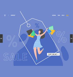 landing page on shopping black friday online sale vector image