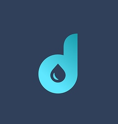 Letter D water drop logo icon design template vector image