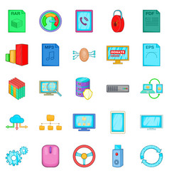 Literacy icons set cartoon style vector