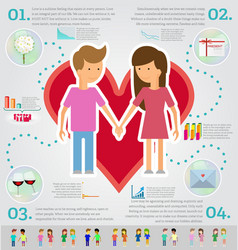Love marriage couple infographic set Flat style vector