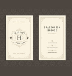 Luxury business card and vintage ornament logo vector