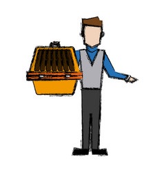 Man holding pet carrying box transport image vector