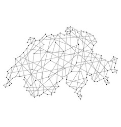 Map of switzerland from polygonal black lines vector
