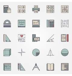 Math icons set vector