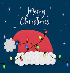 merry christmas card santa claus hat xmas lights vector image
