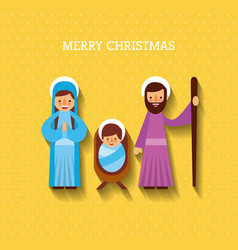 merry christmas mary joseph and baby jesus christ vector image