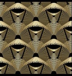 Modern gold 3d greek style seamless pattern vector