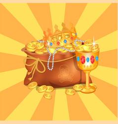 Mysterious rreasure hidden in bag royal crown vector