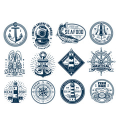 nautical anchor ship helm lighthouse and fish vector image