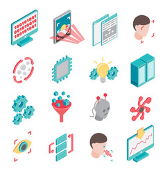 Neural network icon set vector