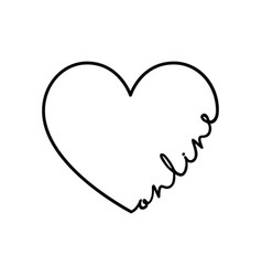 online - calligraphy word with hand drawn heart vector image