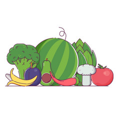 Organic concept with fresh vegetables and fruits vector