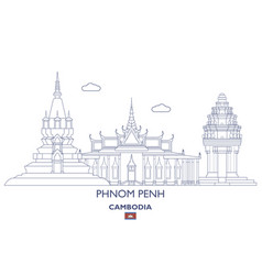 phnom penh city skyline vector image