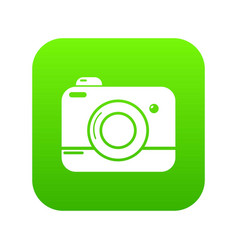 photo camera icon green vector image