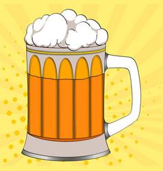 Pop art beer in a glass mug color background vector