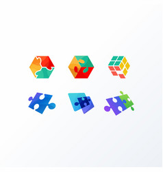 puzzle design concept template vector image