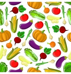 Ripe healthy organic vegetables seamless pattern vector