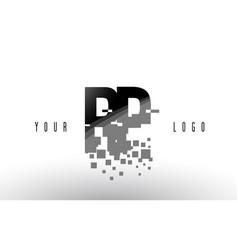 Rp r p pixel letter logo with digital shattered vector