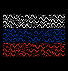 Russian flag mosaic of sinusoid wave icons vector
